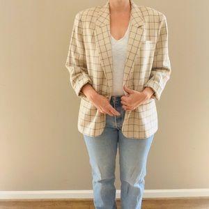 Vintage Pendleton Windowpane Plaid Wool Blazer